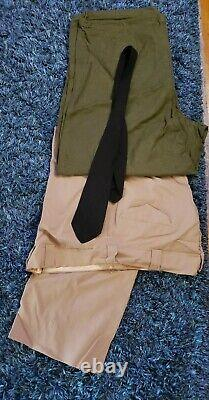18 Vintage MILITARY CLOTHING LOT Military Uniforms 2 Trench Coats Pants Shirts