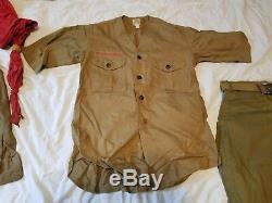 1920's 30's BOY SCOUTS UNIFORM SHIRTS Laced Knickers Scarfs Backpack Akron #16