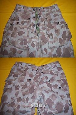 1943 Usmc Paramarine Rev Camo Hbt Uniform Matched Set Jump Shirt & Pants Named