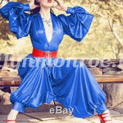 2018 Latex Rubber Women Shirt And Pants Set Fashion Party Uniform 0.4mm XXS-XXL