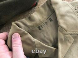 42nd Division Uniform Group w Cut down 4 pocket Feldman Cap, khaki shirt & pants