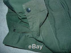 5.11 Tactical Uniform green 1 flex panel pants and 2 rapid/combat 1/4 zip shirts