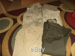 A LOT OF WW2 6 SHIRTS 2 pants 2 ike jackets bunch of misc stuff Great condition