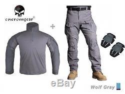 Airsoft Army Tactical Uniform Emerson Combat G3 Uniform Shirt Pants Wolf Gray