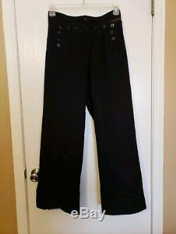 Antique Vintage World War II Navy Dress Blues Uniform Pants And Shirt + Patch