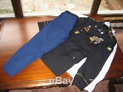 Authentic Army Airborne Military Blue Men's Uniform Jacket Shirt Pants Tie Belt
