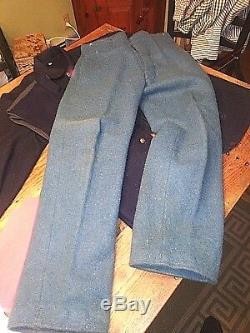 Blue Wool Fed Sack Coat Vest Pants 4 Shirts Hat Civil War Reenactment Uniform