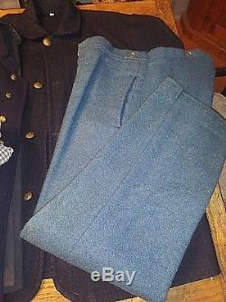 Blue Wool Federal Sack Coat Vest Pants 4 Shirts Civil War Reenactment Uniform