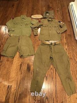 Boy Scouts of America BSA Uniform 30's-40's WWII Era 2 Shirts Pants shorts Caps