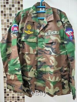 Cambodge Royal Cambodian Army Woodland Camouflage Uniform Shirt Pant Size LARGE