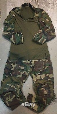 Crye Precision Woodland Set Combat Shirt Medium Regular, Combat Pants 34R, Used