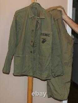 Dated 1943 Ww II Usmc Fatigues Shirt Jacket & Trousers Pants Size 38 Web Belt