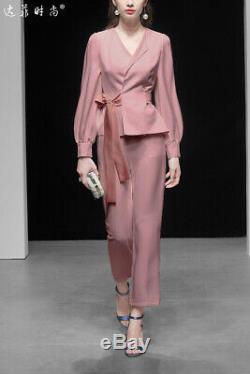 Elegant Solid Womens New 2PCS Shirts Pants V-Neck OL Office Suits Uniform 2019
