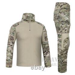 Emerson Combat Shirt & Pants Knee Pads Set Tactical Miliary BDU Uniform Multicam