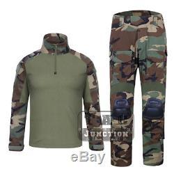 Emerson G3 Combat Shirt & Pants Set Tactical GEN3 BDU Uniform Camo with Knee Pads