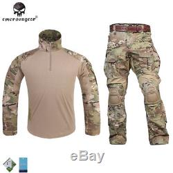 Emerson G3 Combat Uniform Tactical Shirt&Pants Clothing with Knee Pads CP Hunting