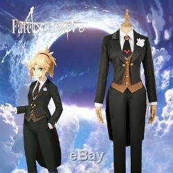 Fate/Apocrypha Mordred Black Uniform Cosplay Costume Coat Vest Shirt Tie Pants