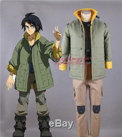 GUNDAM Mikazuki O-gasu Uniform Cosplay Costume Green Coat Men's Winter Jacket