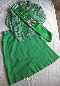 Girl Scout 1980-1987 3-Piece CADETTE UNIFORM Shirt Pants Sash Pins EXCELLENT
