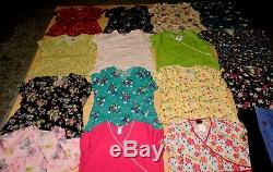 Huge Lot Of 21 Women's Plus Size 2x XXL 15-scrub Tops/shirts Printed 6pants