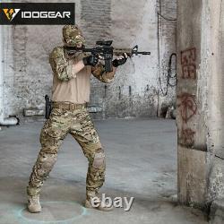 IDOGEAR G3 BDU Combat Uniform Set Shirt & Pants Knee Pads Tactical Multicam Gear