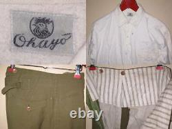 Japanese Army Military Uniform Cap Jacket Pants Shirt Set Antique vintage JAPAN