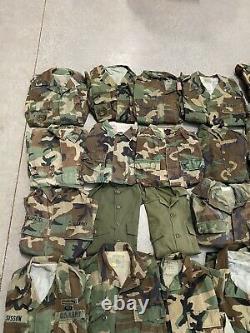 LOT OF 36 Army Digital Camouflage BDU Combat M65 Jackets Pants Shirts
