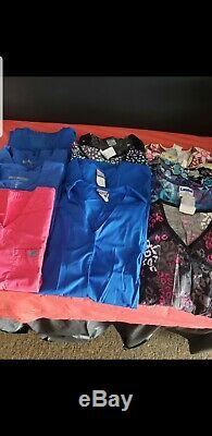 Lot 47 Piece Scrubs Sets Shirts Pants. All Worn By 1 Person Sizes S & M