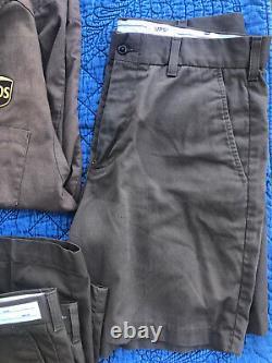 Lot UPS Uniform 3 Shortsleeve Button Shirts Medium Pants Men's 34 Shorts