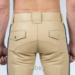 Men Hot SEXY Genuine Real Beige Sheepskin Leather Police Uniform Shirt & Pants