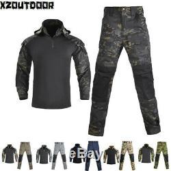 Men's Military Combat Uniform Shirt Pants Tactical Camouflage BDU SWAT Army Sets