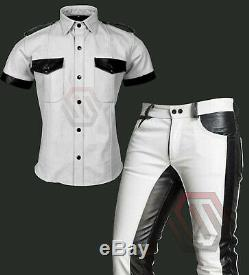 Men's Real Best Quality Leather Full Police Military Style White & Black Uniform