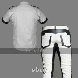 Men's Real Cowhide Leather Police Military Style White & Black Full Uniform