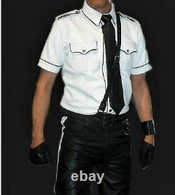 Men's Real Leather Police Uniform BLUFPolice Costume Shirt, Pants, Belts, Tie, Band