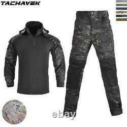 Mens Combat T-shirt Pants G3 Army Military Tactical Camo SWAT BDU Uniform Hiking