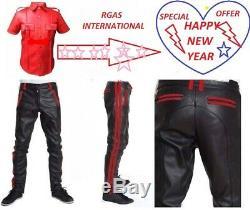 Mens Hot Stylish Full Police Uniform T Shirt & Pant BLUF Gay Genuine LEATHER