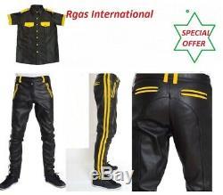 Mens Hot Stylish Police Uniform Pant, T Shirt Set BLUF Gay Genuine Sheep Leather