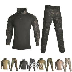 Military Uniform Shirt + Pants With Knee Elbow Pads Outdoor Airsoft Paintball Ta