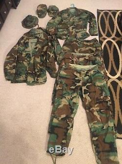 NAMED Captain 10pc US Air Force USAF Woodland Uniform Lot PANTS SHIRTS Cap LARGE