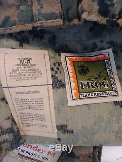 NEW USMC Woodland Digital Frog Shirt, & Pants AUTHENTIC, MEDIUM REGULAR