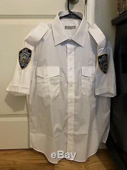 NYPD White Short Sleeve Uniform Costume Shirt + Navy Blue Uniform Pants L Reg