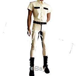 Navy Uniform Latex Pure Rubber Man T-shirt and Trousers Pants Suit Size XXSXXL