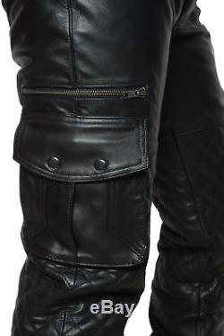New Real Leather Men's Quilted Pant/Trouser With Cargo Pockets Free Shipping