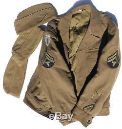 ORIG US ARMY WW2 36th & 63rd INF DIV T5 7-PC UNIFORM O'COAT IKE SHIRT PANTS CAPS