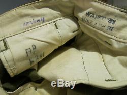ORIGINAL NAMED WW2 M37 Wool Field Shirt, Pants & Belt Sz 14-32 S Trousers 31x31
