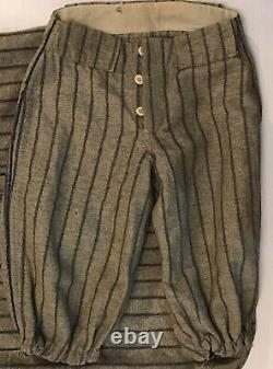 Old Wool Baseball Shirt & Pant Knickers Uniform Grey With Blue Pinstripes Antique