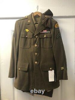 Original WW2 EM 103rd Division Engineer Corporal Uniform Coat, pants, shirt, hat