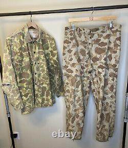 Original WW2 USMC Frogskin Camo Reversible Shirt Pant Suit Set P44 Military HBT