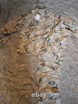 POLISH ARMY PANTS + SHIRT COMBAT UNIFORM DESERT RIP-STOP POLAND Medium/Long