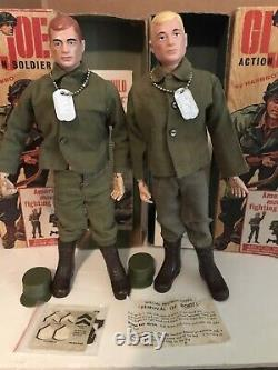 Pair Hasbro 1964 GI Joe ACTION SOLDIERS with Double TM Original 7500 Boxes